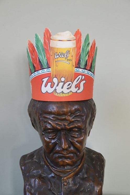 Zeer mooie reclame van Wiel's pils (brouwerij Wielemans) in karton
