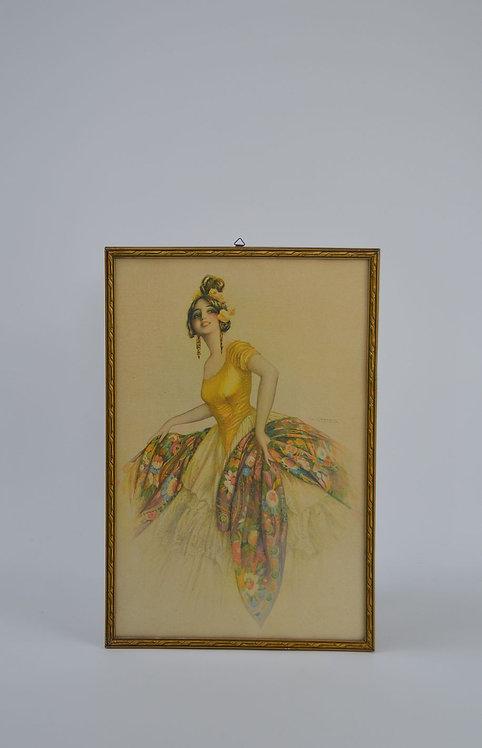 Lithografie met elegante vrouw van Gaspar Camps uit begin 20ste eeuw