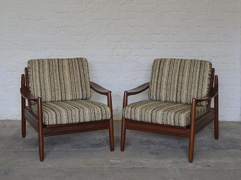 Set van 2 Scandinavische zetels in teakhout, jaren '60