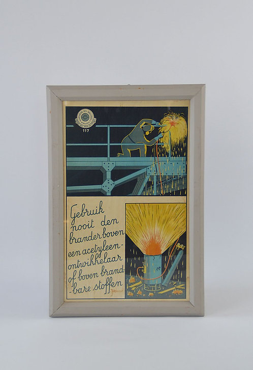 Art Deco affiche ter preventie van werkongevallen ontworpen door J. Basiaux