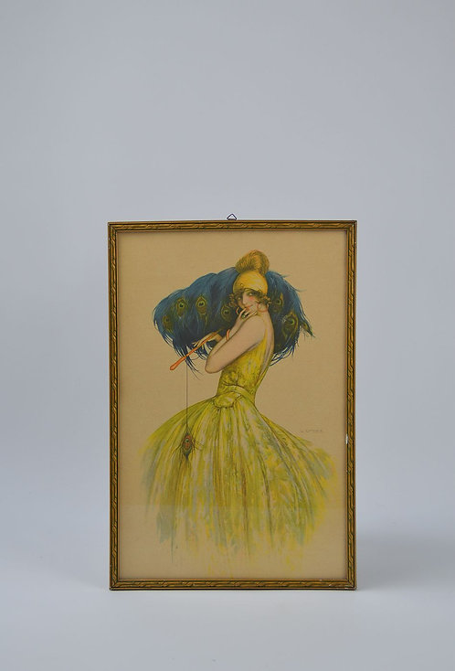Lithografie 'Peacock Fan' van Gaspar Camps uit begin 20ste eeuw