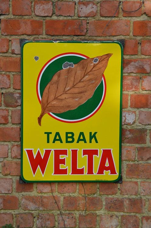 Emaille reclamebord van Tabak Welta door Emaillerie Belge uit 1953