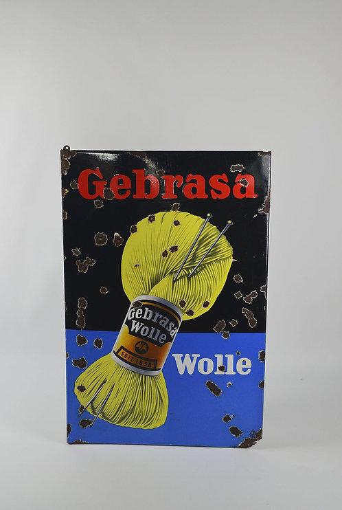 Groot Duits emaille reclamebord van Gebrasa Wolle