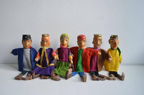 Set antieke poppenkast poppen in hout, jaren '40