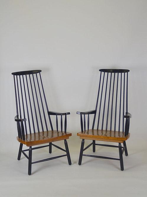 Set van 2 spijlenstoelen met hoge rug en armleuningen, jaren '60