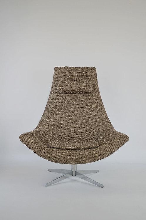 Mid-century swivel zetel met voet in chroom, jaren '60
