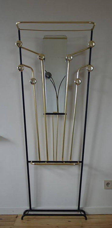 Stijlvolle staande kapstok met messing en spiegel in de stijl van Roger Feraud