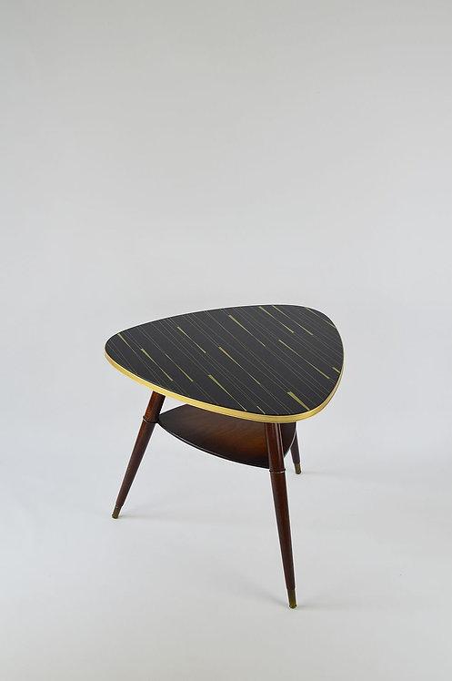 Plectrum-vormige salontafel met glazen blad, jaren '50
