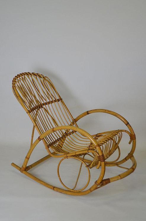Rotan schommelstoel van Rohé Noordwolde, jaren '60