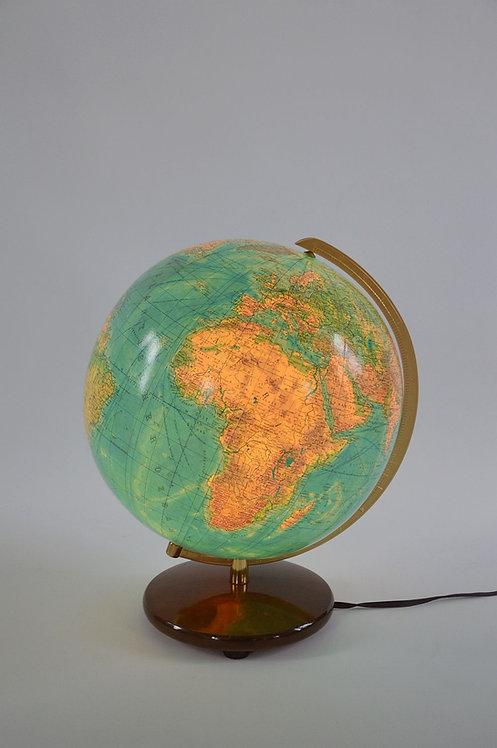 Grote vintage glazen wereldbol van Columbus met verlichting, jaren '50