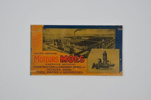 Houten reclamebord voor Moteurs Moës, 1930