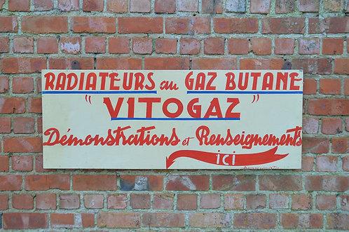 Handgeschilderd reclamebord voor Vitogaz, Frankrijk jaren '40