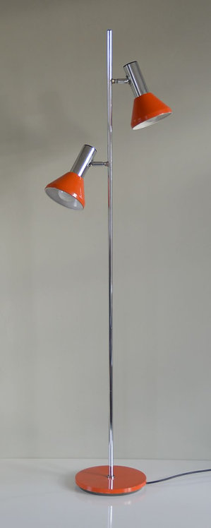 Vintage staande lamp met 2 conisch gevormde lichtkappen