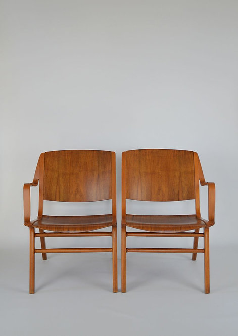 Zeldzaam duo stoelen van Peter Hvidt & Orla Mølgaard Nielsen voor Fritz Hansen