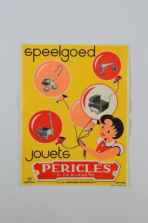 Authentieke affiche van speelgoed Pericles uit Deinze, 1951