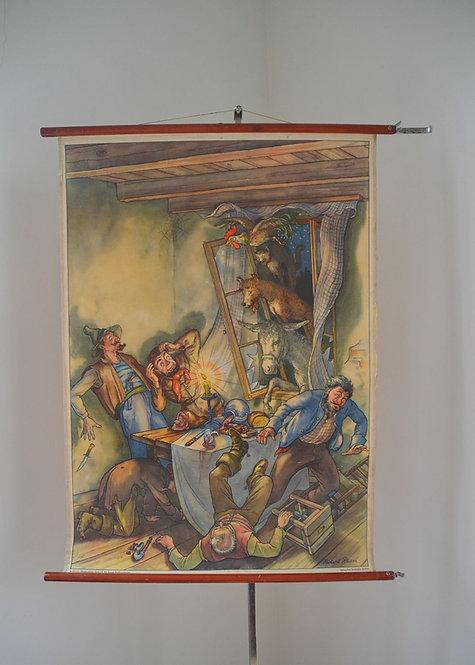 Antieke schoolkaart van sprookje 'Bremer stadsmuzikanten', jaren '50