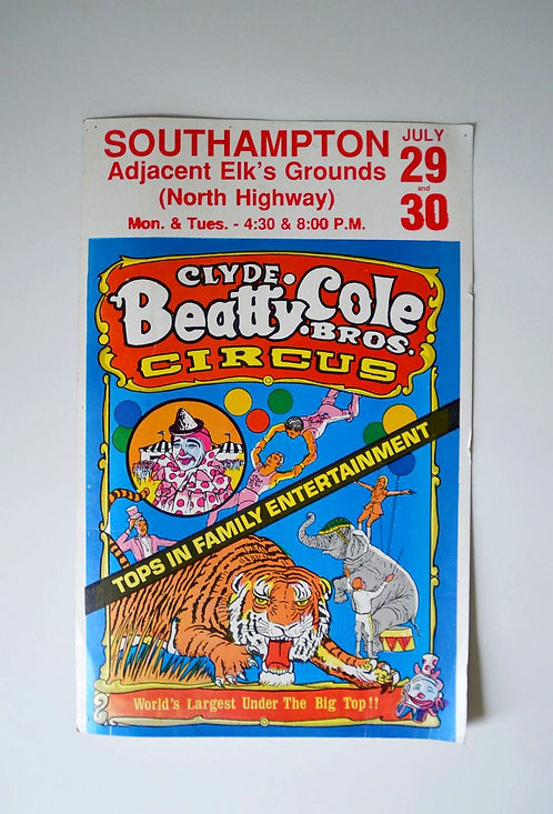 Amerikaanse reclame voor voorstelling 'Clyde Beatty & Cole Brothers Circus'