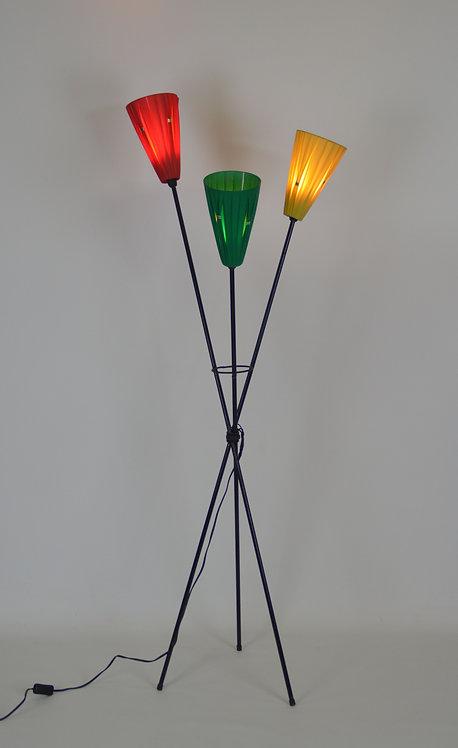 Vloerlamp met 3 plissé lampenkappen, jaren '50