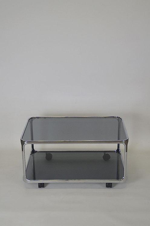 Space Age salontafel in chroom met gefumeerd glas, jaren '70