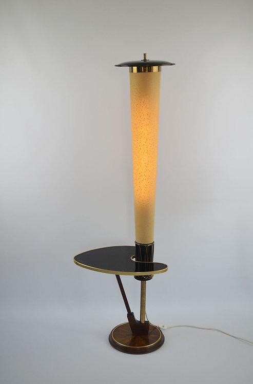 Zeldzame bijzettafel met kokerlamp in atomic stijl, jaren '50