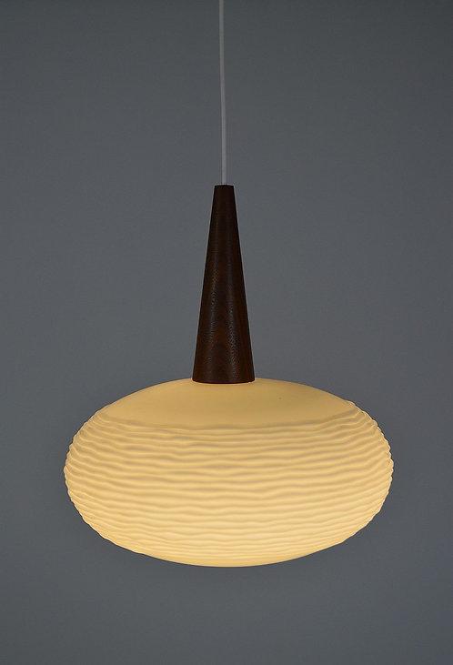 Hanglamp van Massive in opaline en teak, jaren '60