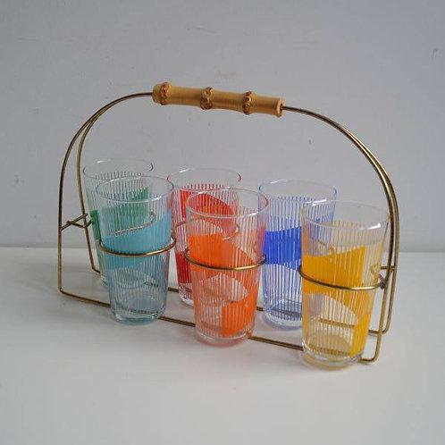 Draagmand met 6 kleurrijke longdrink glazen