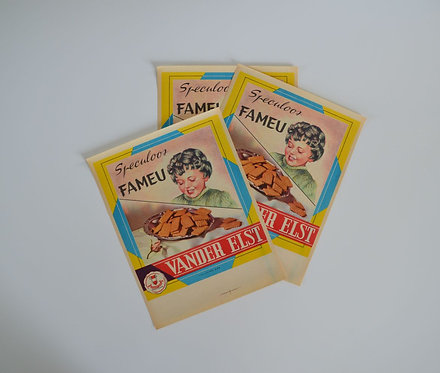 Lot van 3 oude papieren reclame van Fameu Speculoos uit de jaren '50