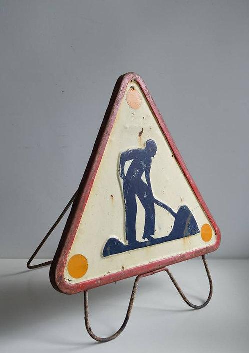 Verkeersbord met staander uit Frankrijk, jaren '50