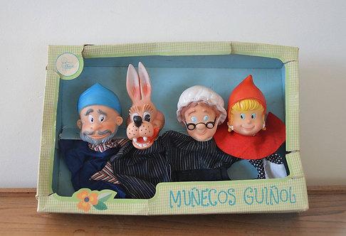 Set van 4 vintage handpoppen van het sprookje Roodkapje, Famosa