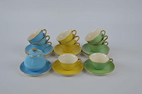 Set pastelkleurig koffieservies van Keralux jaren '50