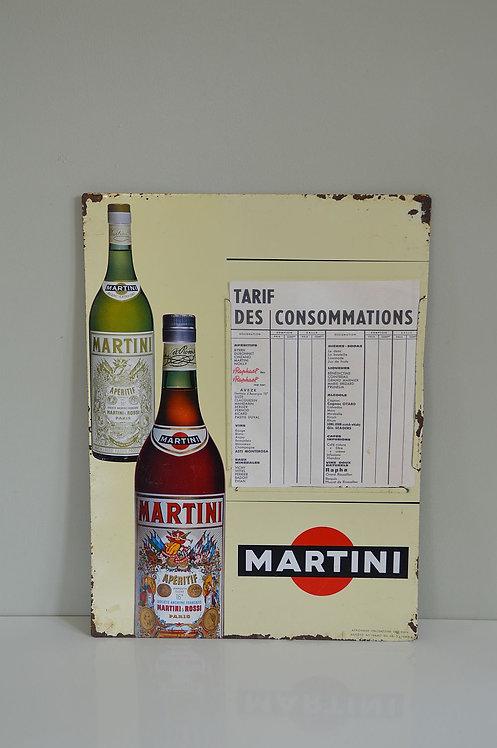 Vintage Martini prijslijst in blik, jaren '60 of '70