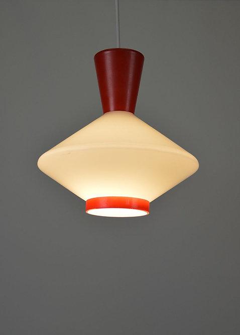 Hanglamp vervaardigd uit opaline glas, jaren '50