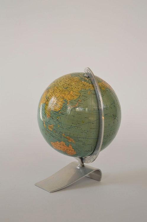 Zeldzamere kleine wereldbol 'Columbus' op metalen voet, jaren '50