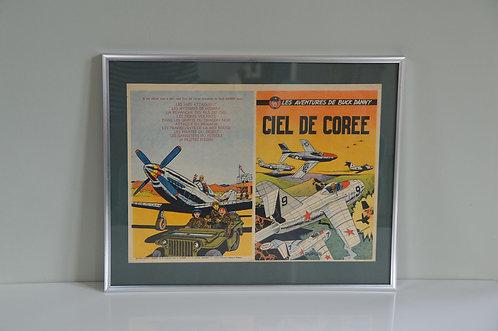Originele print van de kaft van strip 'Buck Danny - Ciel de Corée', 1954