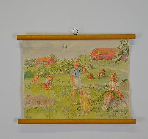 Schoolkaart geïllustreerd door Maj Lindman, jaren '50