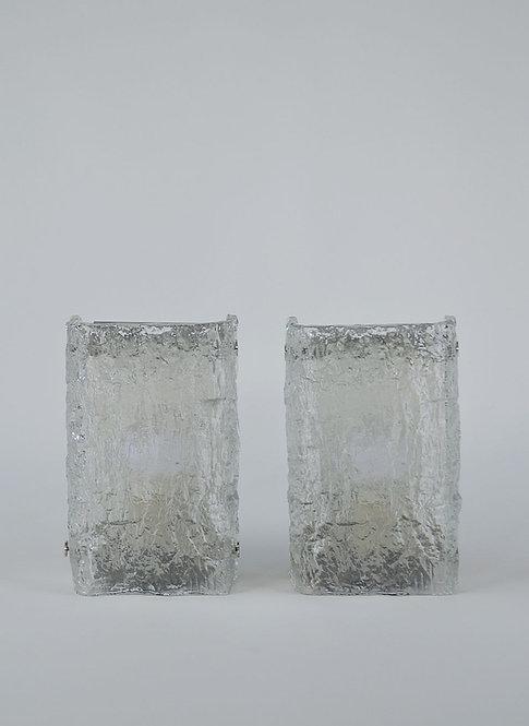Set van 2 glazen wandlampen van Kaiser Leuchten, jaren '60