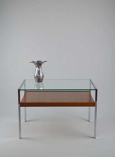 Design salontafel met chrome, teak en glazen blad, jaren '70
