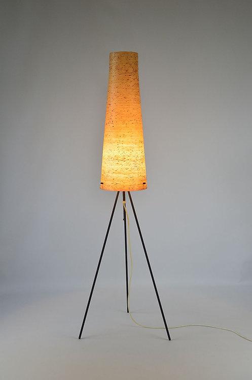 Rocketlamp in glasvezel op metalen driepoot, jaren '50