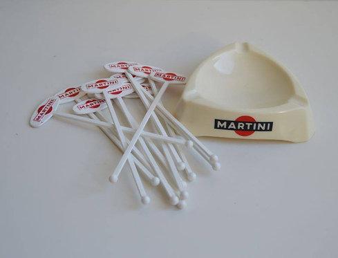 Asbak in opaline met logo van Martini, jaren '60