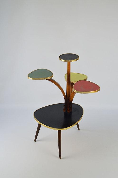 Vintage bloementafel met 5 niveau's en gekleurde formica, jaren '50