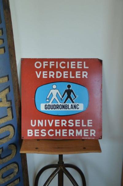 Metalen reclamebord 'Goudronblanc', Emaillerie Koekelberg, 1966
