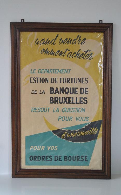 Prachtige antieke houten kader met reclame voor de Bank Van Brussel