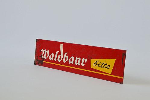 Metalen reclamebord van het Duitse chocolademerk Waldbaur, jaren '50