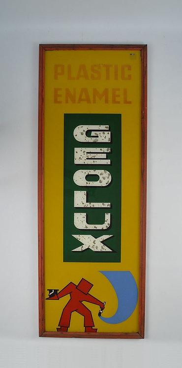 Grote glasplaat met reclame voor Levis Geolux (verf), jaren '50