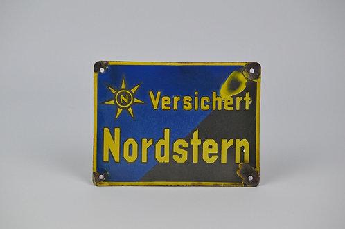 Gebombeerd emaille reclamebord 'Nordstern' verzekeringen, jaren '30