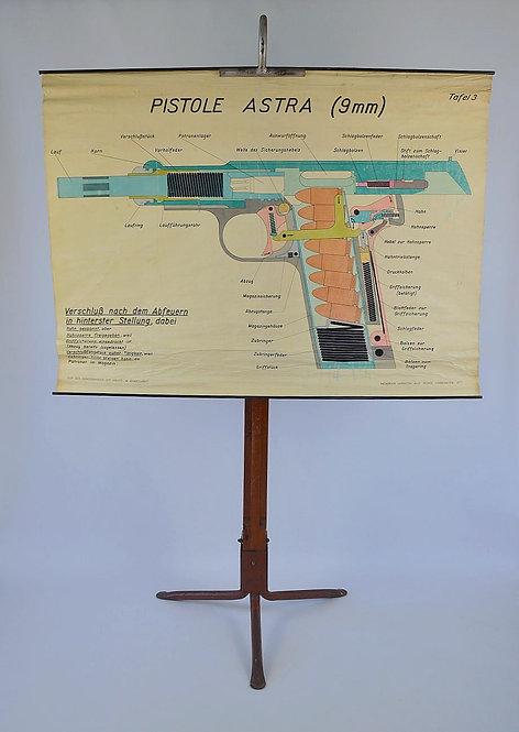 Zeldzame educatieve kaart van Astra 9 mm pistool voor de politieschool
