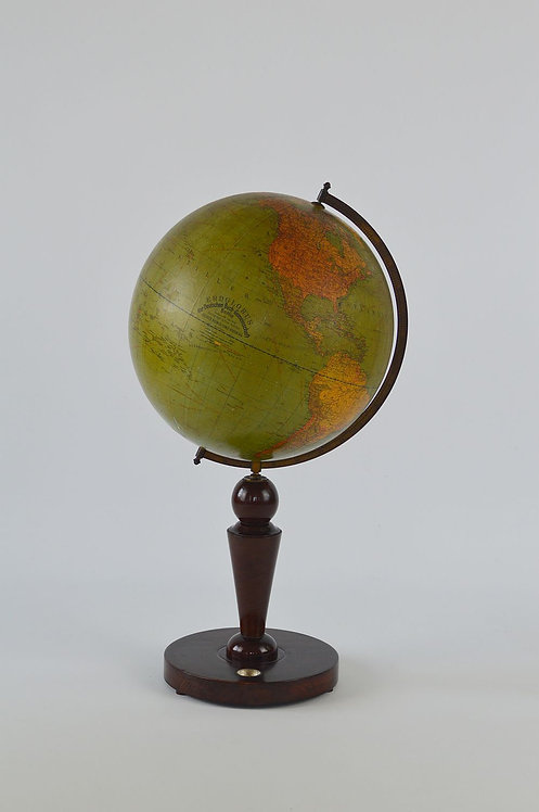 Grote Art Deco wereldbol op houten voet met kompas, jaren '30