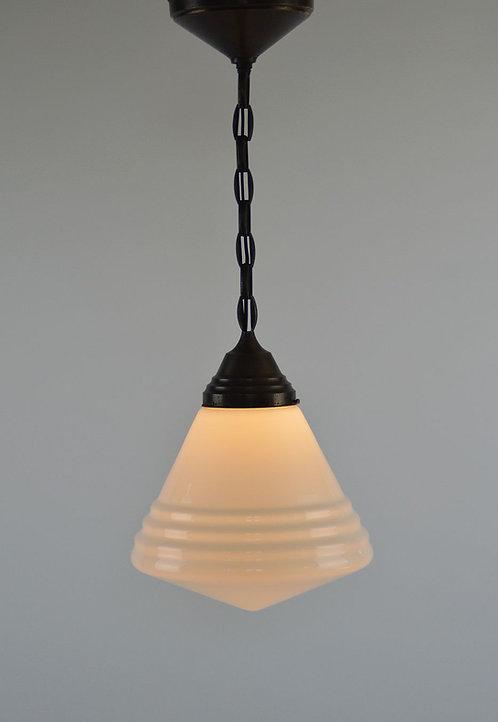 Stijlvolle Art Deco hanglamp van Philips met opaline melkglas, jaren '30