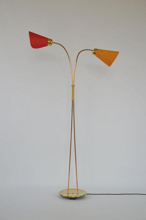 Typische vloerlamp uit de jaren '50 met 2 aparte lichtpunten