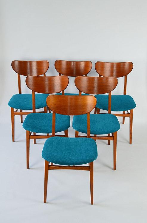 6 Scandinavische mid-century vintage stoelen in mooie staat
